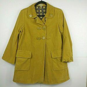 Anthropologie Elevenses 100% Cotton Mustard Coat